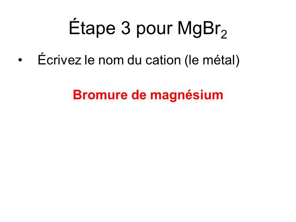 Autres exemples: MgF 2 = Fluorure de magnésium BeS = Sulfure de béryllium CaI 2 = Iodure de calcium Li 2 O = Oxyde de lithium Rappel: Cest «oxyde» pas «oxygenure»
