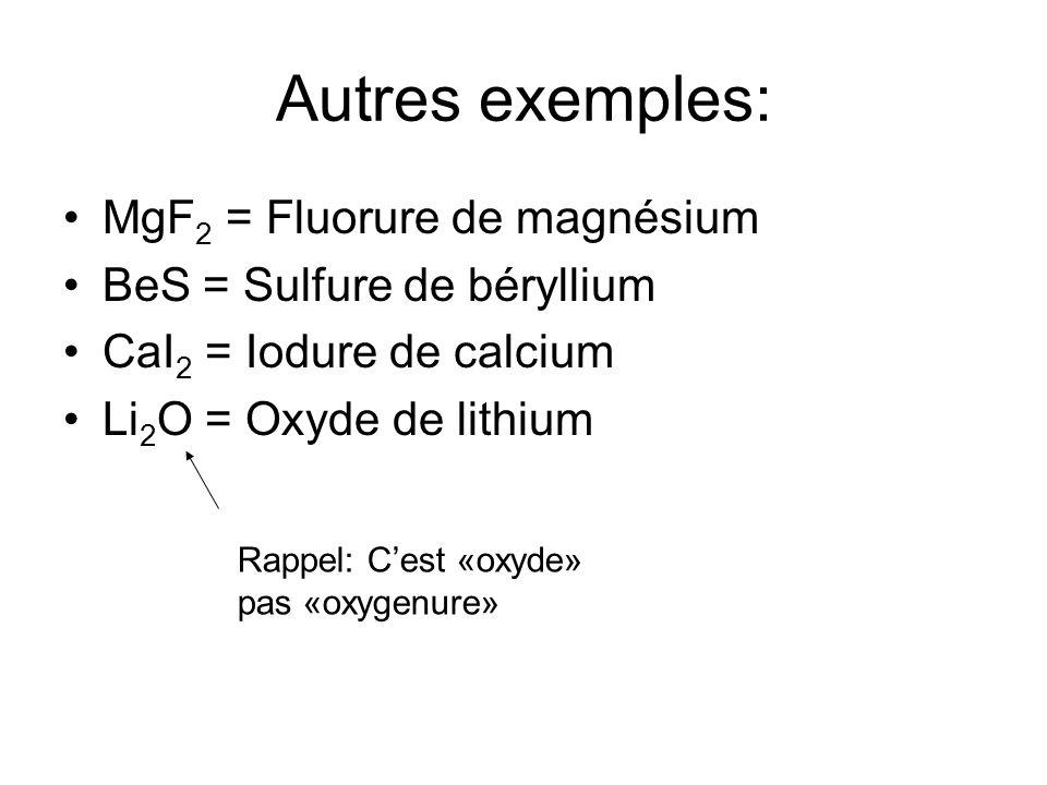 Autres exemples: MgF 2 = Fluorure de magnésium BeS = Sulfure de béryllium CaI 2 = Iodure de calcium Li 2 O = Oxyde de lithium Rappel: Cest «oxyde» pas