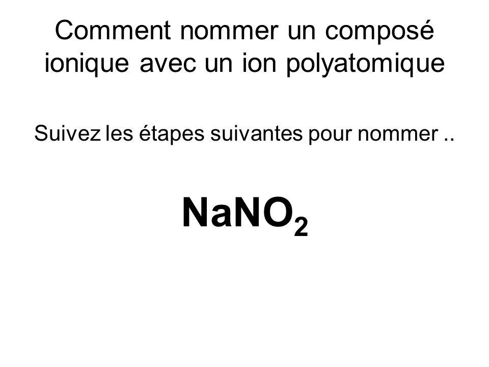 Étape 1 pour NaNO 3 Notez que maintenant, on a un métal (Na) et un composé polyatomique (NO 3 ) Trouver le nom du composé polyatomique, sur la feuille de référence # 2 NO 3 = Nitrate