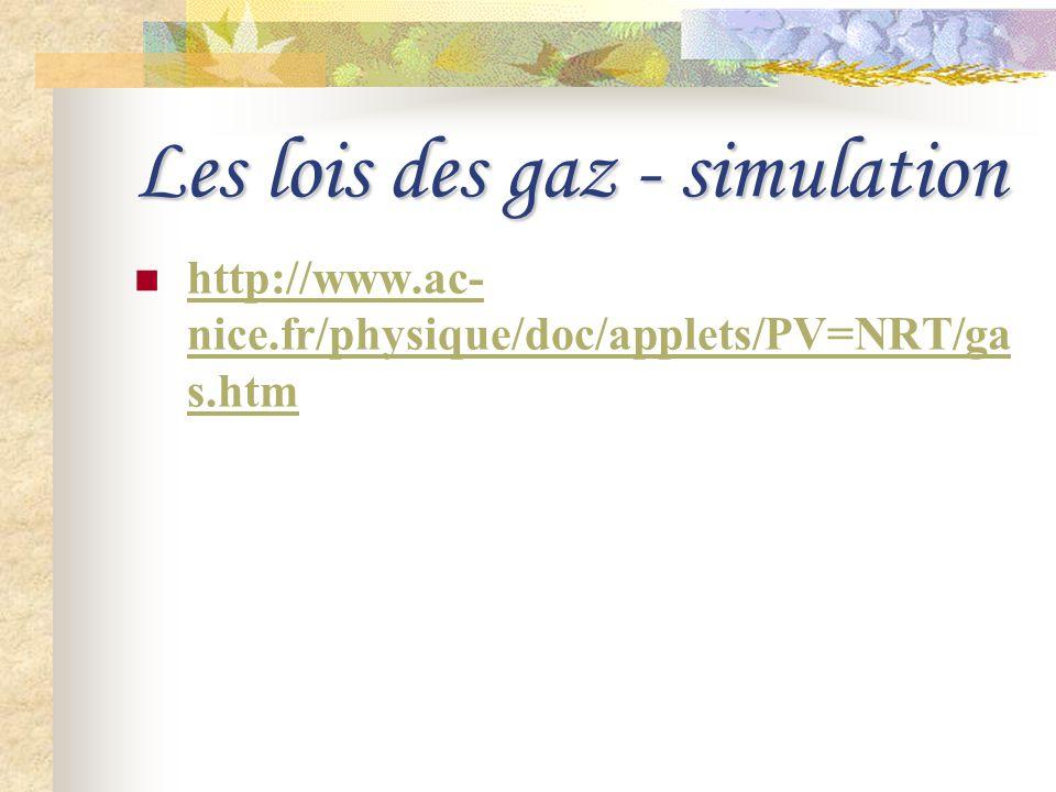 Les lois des gaz - simulation http://www.ac- nice.fr/physique/doc/applets/PV=NRT/ga s.htm http://www.ac- nice.fr/physique/doc/applets/PV=NRT/ga s.htm