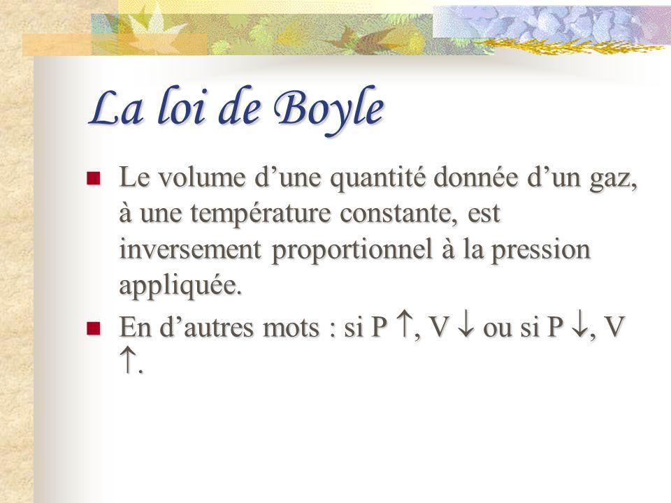 La loi de Boyle Le volume dune quantité donnée dun gaz, à une température constante, est inversement proportionnel à la pression appliquée. Le volume