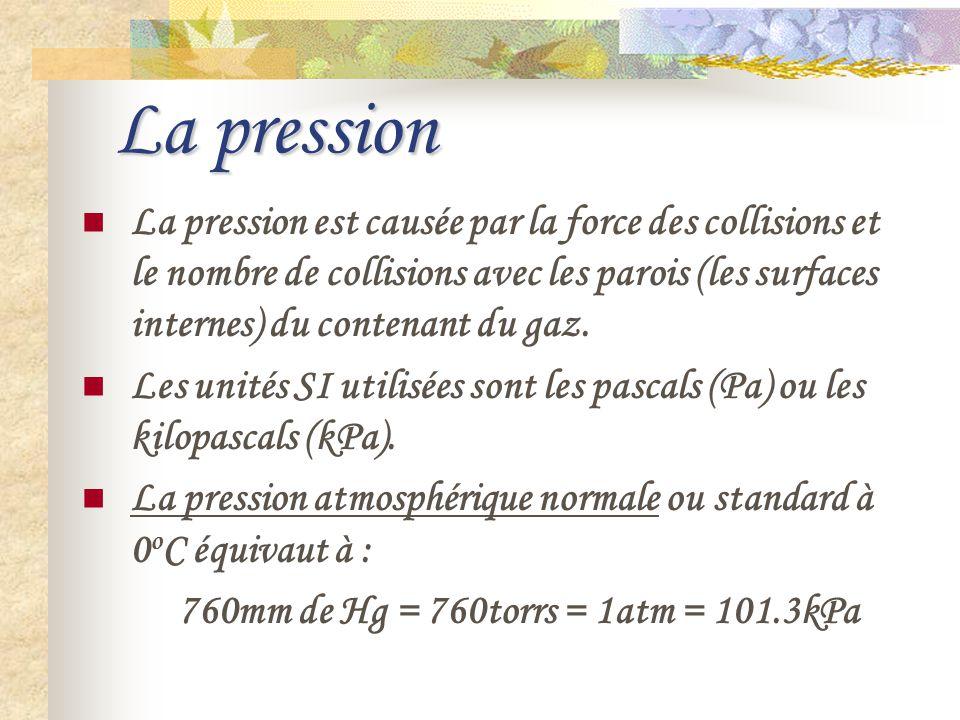 La pression La pression est causée par la force des collisions et le nombre de collisions avec les parois (les surfaces internes) du contenant du gaz.