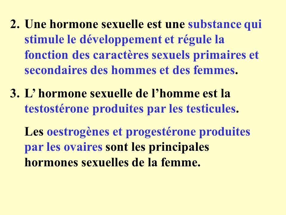 2.Une hormone sexuelle est une substance qui stimule le développement et régule la fonction des caractères sexuels primaires et secondaires des hommes