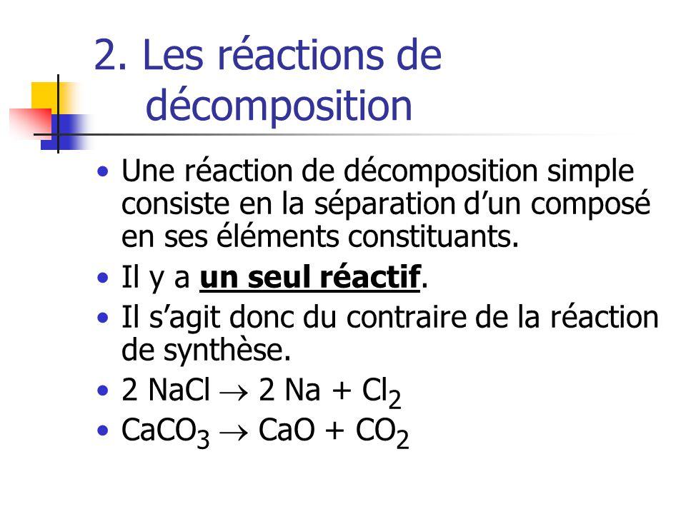 2. Les réactions de décomposition Une réaction de décomposition simple consiste en la séparation dun composé en ses éléments constituants. Il y a un s