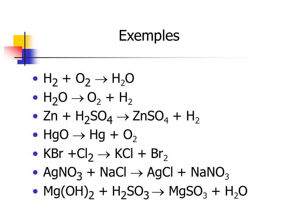 H 2 + O 2 H 2 O H 2 O O 2 + H 2 Zn + H 2 SO 4 ZnSO 4 + H 2 HgO Hg + O 2 KBr +Cl 2 KCl + Br 2 AgNO 3 + NaCl AgCl + NaNO 3 Mg(OH) 2 + H 2 SO 3 MgSO 3 +