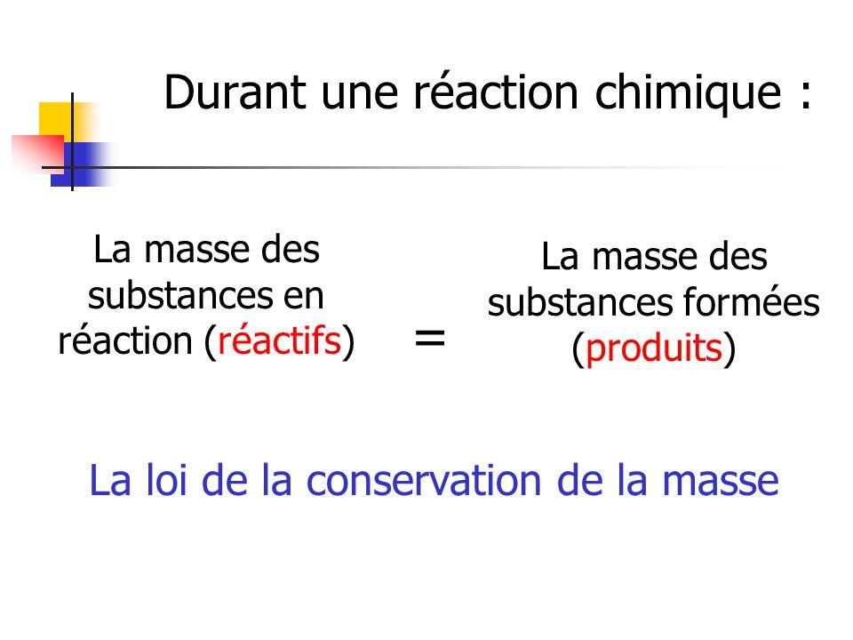 Durant une réaction chimique : La masse des substances en réaction (réactifs) La masse des substances formées (produits) = La loi de la conservation d