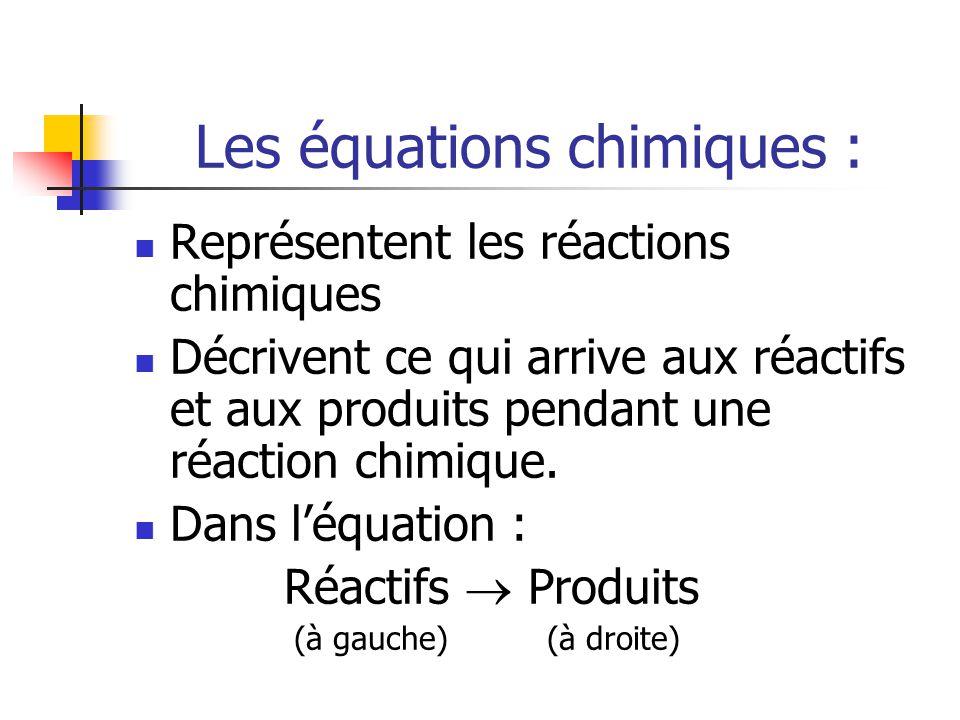 Les équations chimiques : Représentent les réactions chimiques Décrivent ce qui arrive aux réactifs et aux produits pendant une réaction chimique. Dan