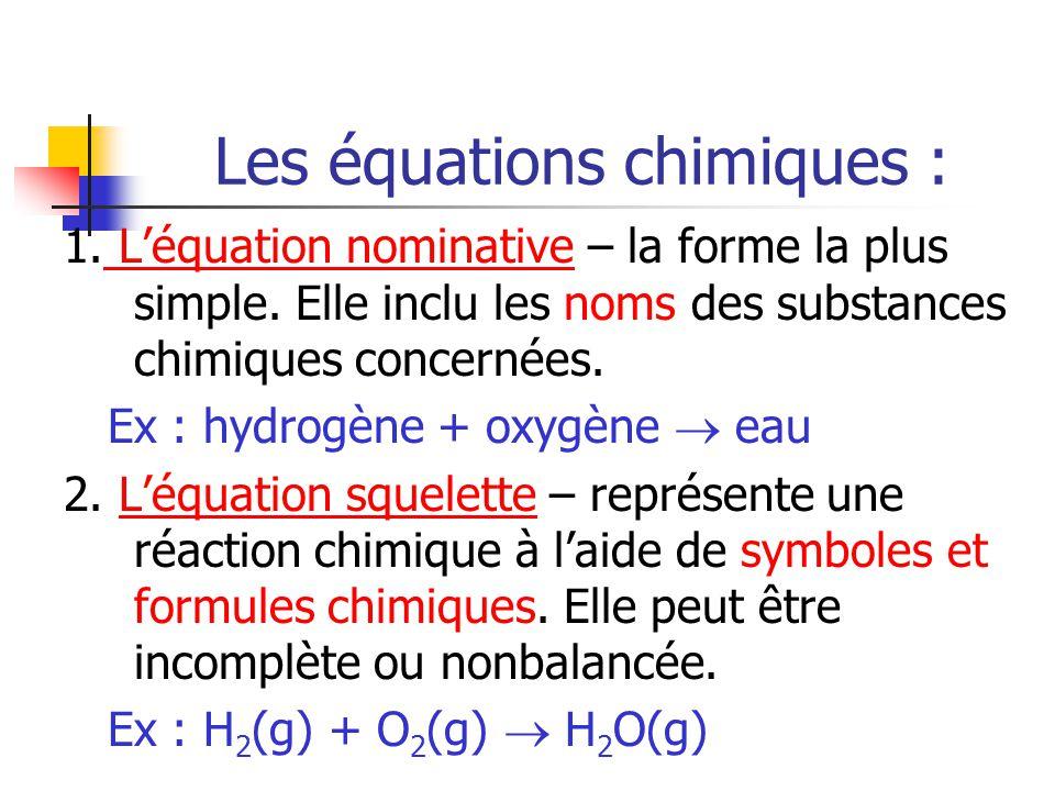 Les équations chimiques : 1. Léquation nominative – la forme la plus simple. Elle inclu les noms des substances chimiques concernées. Ex : hydrogène +