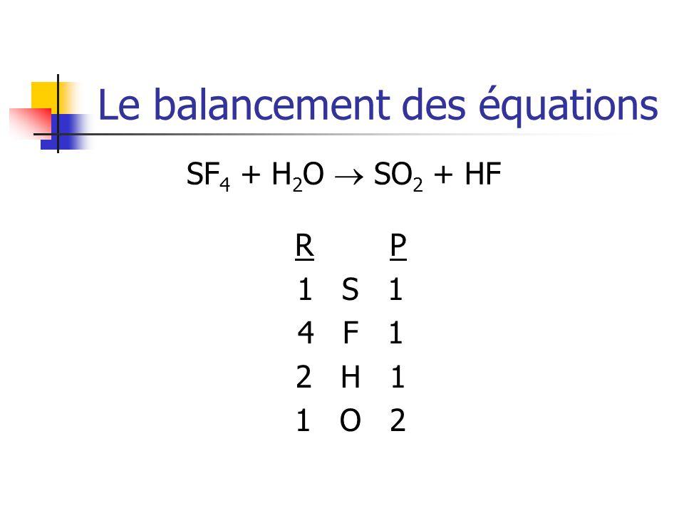 Le balancement des équations SF 4 + H 2 O SO 2 + HF R P 1 S 1 4 F 1 2 H 1 1 O 2