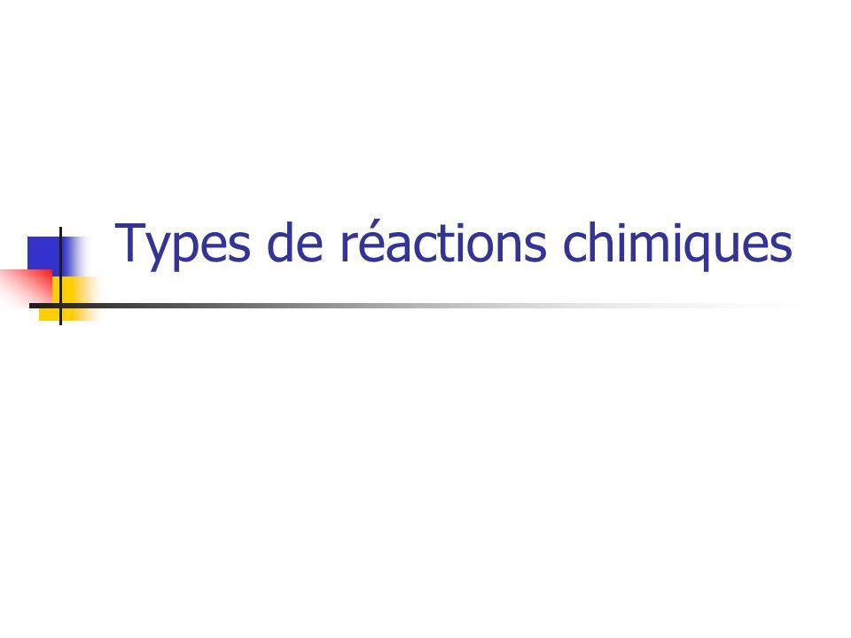 Il existe différents types de réactions chimiques mais nous nexaminerons que les cinq types de réactions établis grâce à des généralisations.