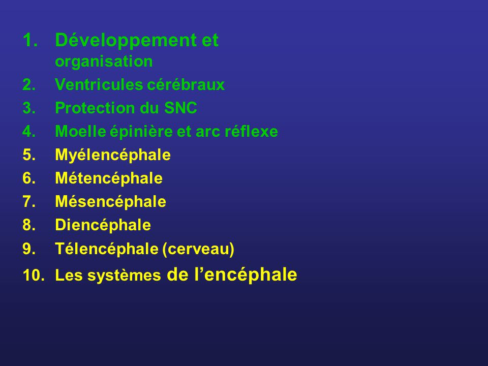 1.Développement et organisation 2.Ventricules cérébraux 3.Protection du SNC 4.Moelle épinière et arc réflexe 5.Myélencéphale 6.Métencéphale 7.Mésencép