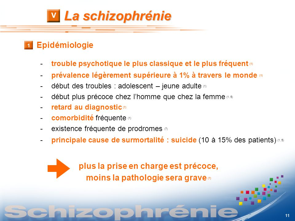 La schizophrénie V 1 Epidémiologie -trouble psychotique le plus classique et le plus fréquent (1) -prévalence légèrement supérieure à 1% à travers le