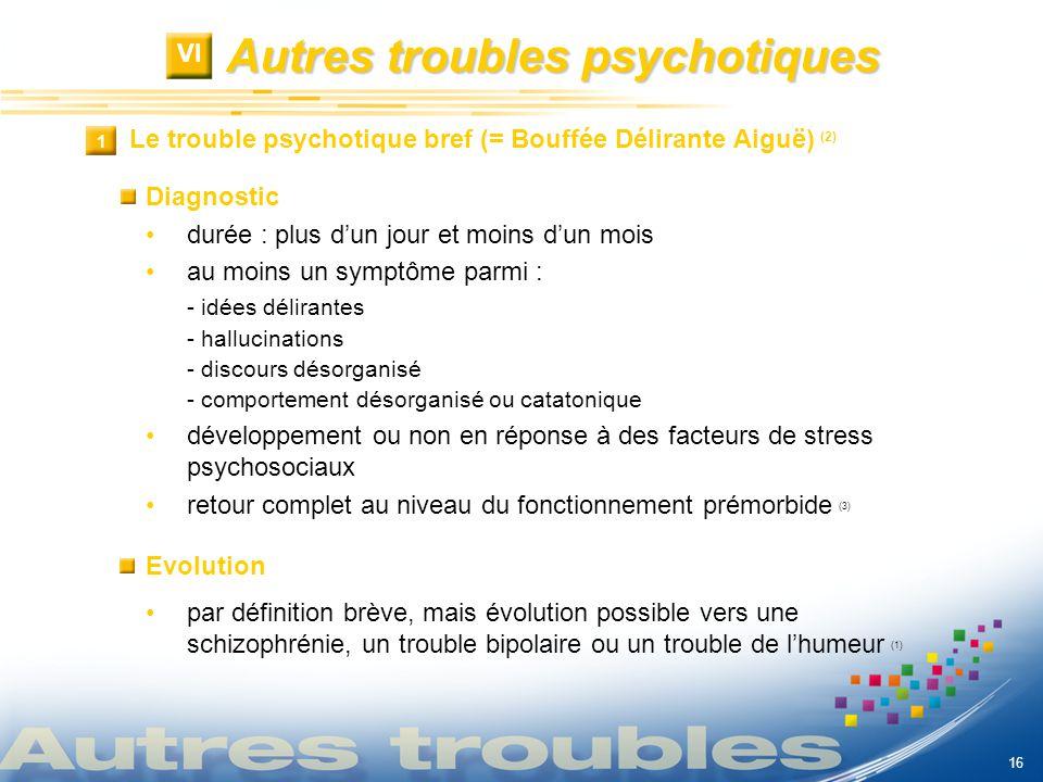 Autres troubles psychotiques VI Le trouble psychotique bref (= Bouffée Délirante Aiguë) (2) 1 1 Diagnostic durée : plus dun jour et moins dun mois au