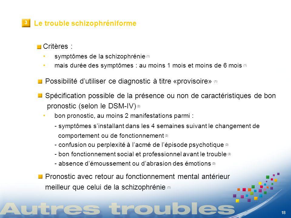 VI 18 1 Critères : symptômes de la schizophrénie (1) mais durée des symptômes : au moins 1 mois et moins de 6 mois (1) Possibilité dutiliser ce diagno