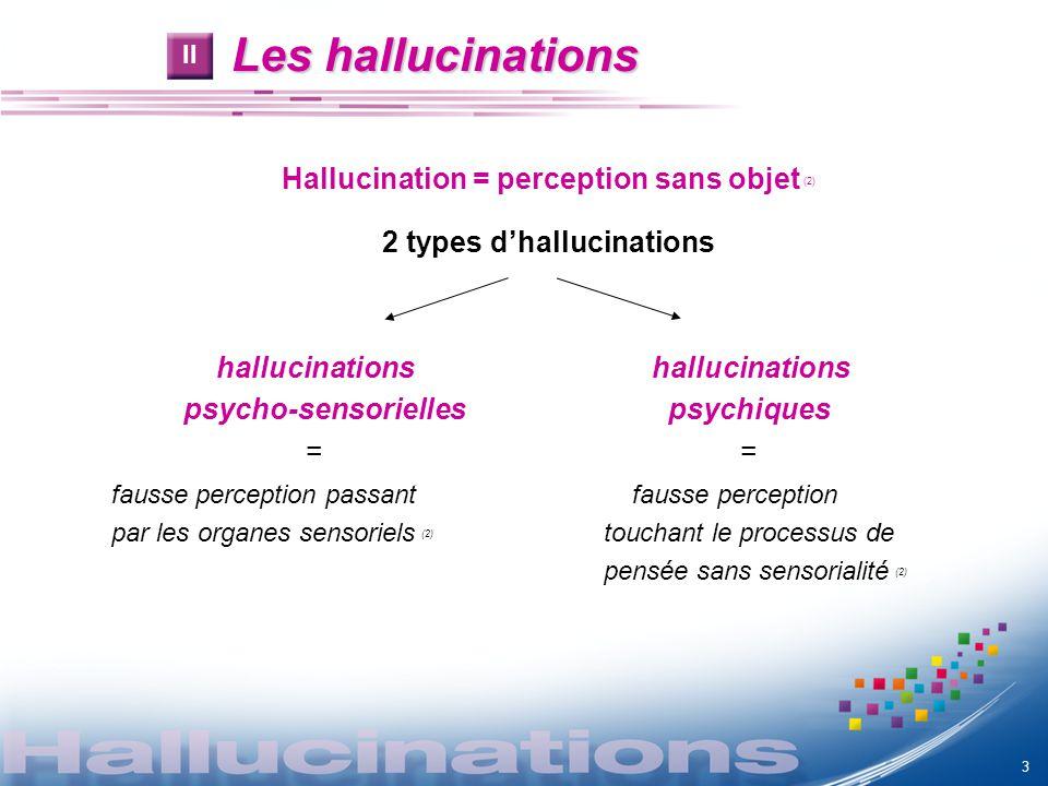 Les hallucinations Hallucination = perception sans objet (2) 2 types dhallucinations hallucinations psycho-sensorielles psychiques = fausse perception