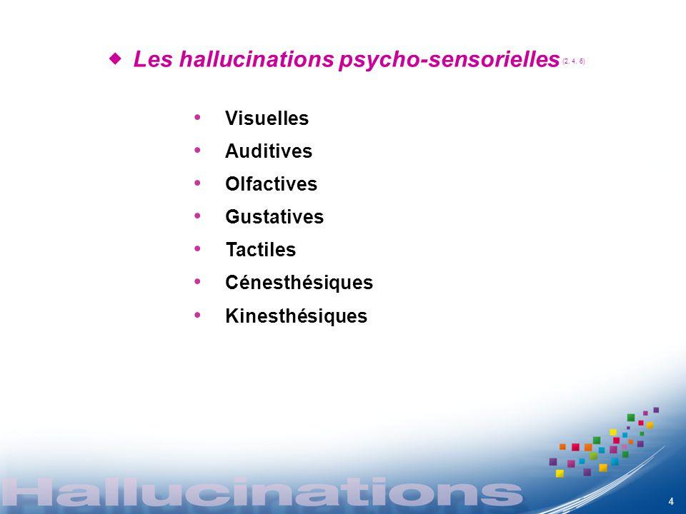 Les hallucinations psycho-sensorielles (2, 4, 6) 4 Visuelles Auditives Olfactives Gustatives Tactiles Cénesthésiques Kinesthésiques