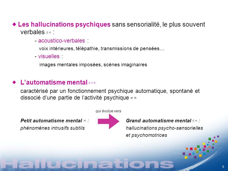 Les hallucinations psychiques sans sensorialité, le plus souvent verbales (2, 4) : - acoustico-verbales : voix intérieures, télépathie, transmissions