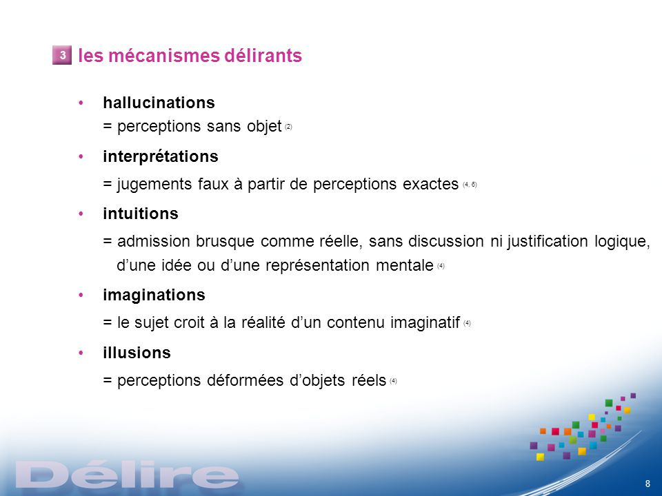 les mécanismes délirants hallucinations = perceptions sans objet (2) interprétations = jugements faux à partir de perceptions exactes (4, 6) intuition