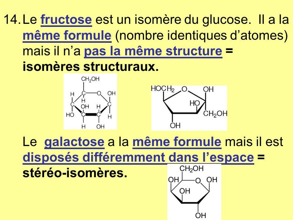 14.Le fructose est un isomère du glucose.