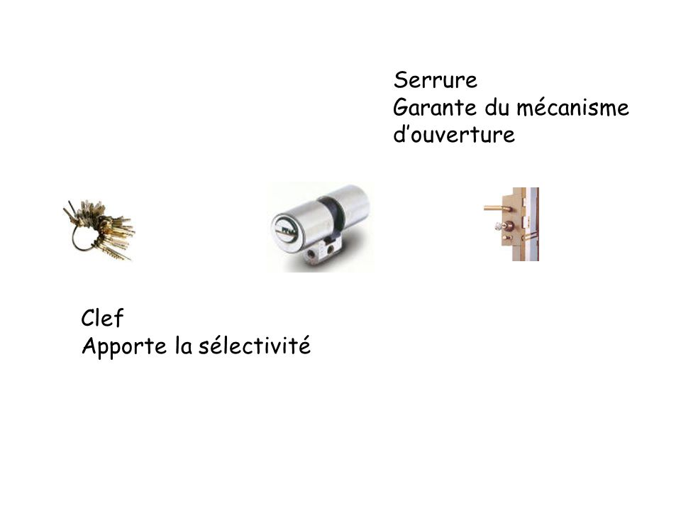 Clef Apporte la sélectivité Serrure Garante du mécanisme douverture