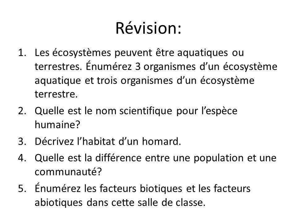 Révision: 1.Les écosystèmes peuvent être aquatiques ou terrestres.
