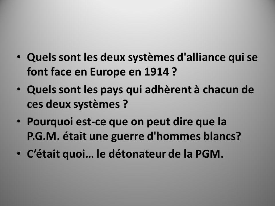 Quels sont les deux systèmes d'alliance qui se font face en Europe en 1914 ? Quels sont les pays qui adhèrent à chacun de ces deux systèmes ? Pourquoi