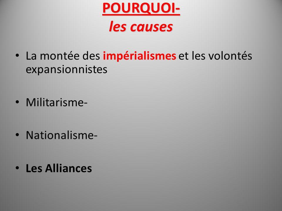 POURQUOI- les causes La montée des impérialismes et les volontés expansionnistes Militarisme- Nationalisme- Les Alliances