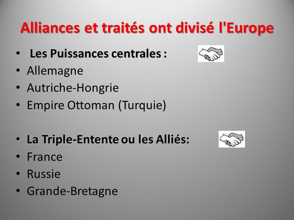 Alliances et traités ont divisé l'Europe Les Puissances centrales : Allemagne Autriche-Hongrie Empire Ottoman (Turquie) La Triple-Entente ou les Allié
