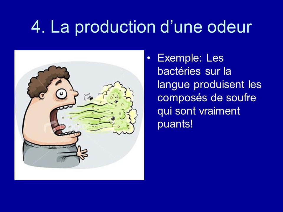 4. La production dune odeur Exemple: Les bactéries sur la langue produisent les composés de soufre qui sont vraiment puants!