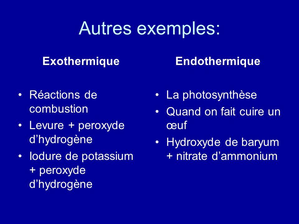Autres exemples: Exothermique Réactions de combustion Levure + peroxyde dhydrogène Iodure de potassium + peroxyde dhydrogène Endothermique La photosyn