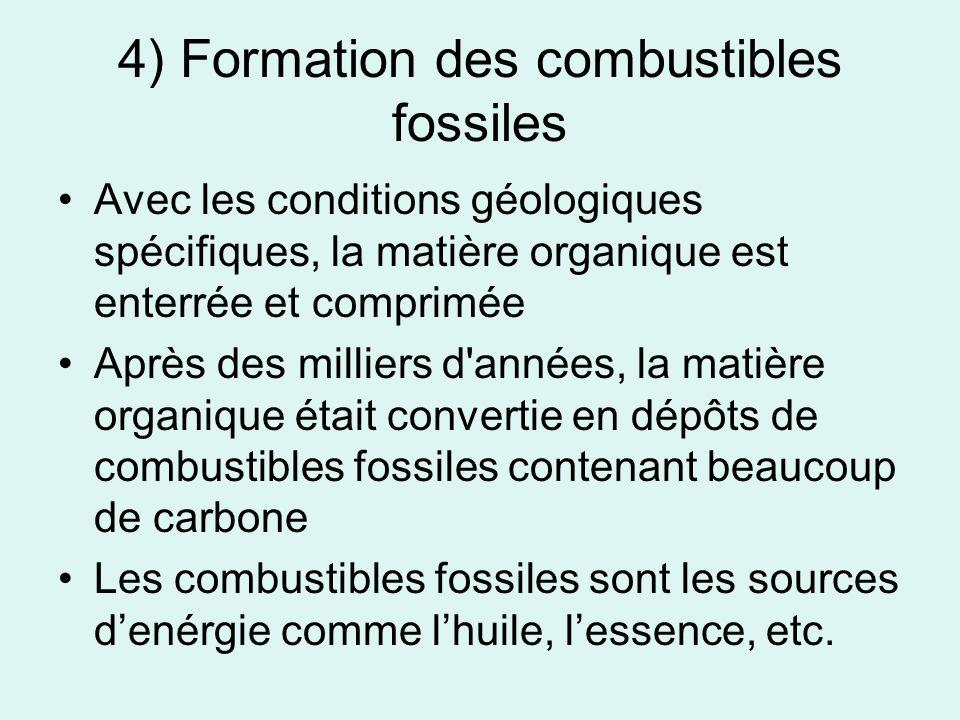 4) Formation des combustibles fossiles Avec les conditions géologiques spécifiques, la matière organique est enterrée et comprimée Après des milliers d années, la matière organique était convertie en dépôts de combustibles fossiles contenant beaucoup de carbone Les combustibles fossiles sont les sources denérgie comme lhuile, lessence, etc.