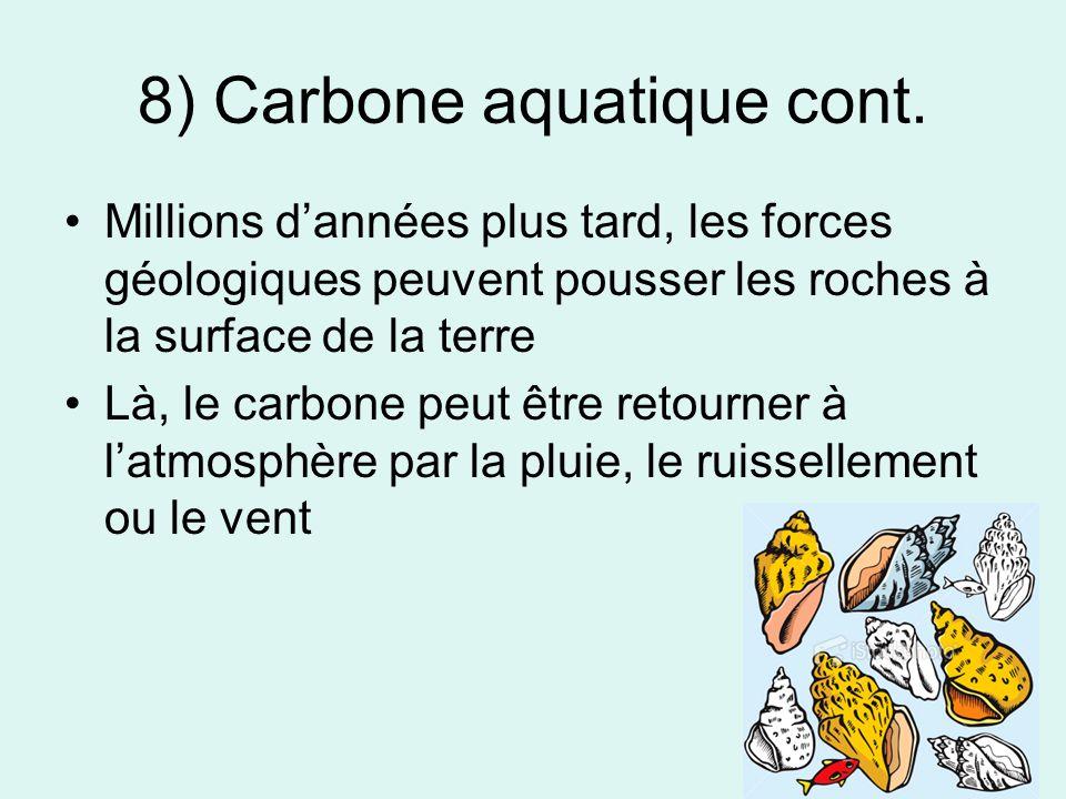 8) Carbone aquatique cont. Millions dannées plus tard, les forces géologiques peuvent pousser les roches à la surface de la terre Là, le carbone peut