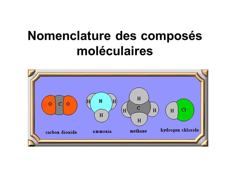 Nomenclature des composés moléculaires
