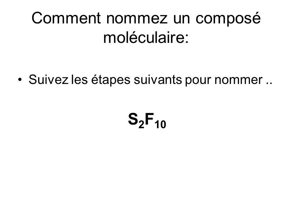Étape 1 pour S 2 F 10 Examinez le deuxième non-métal: F = fluore Choisissiez le préfixe approprié en utilisant la feuille de référence # 3: Le préfixe pour 10 = Deca Écrivez le nom utilisant ce préfixe et ajoutez ure comme une terminaison Alors … Decafluorure