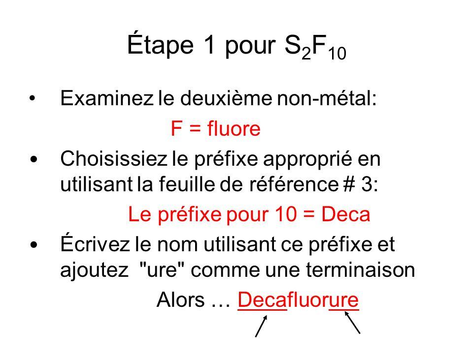 Étape 1 pour S 2 F 10 Examinez le deuxième non-métal: F = fluore Choisissiez le préfixe approprié en utilisant la feuille de référence # 3: Le préfixe