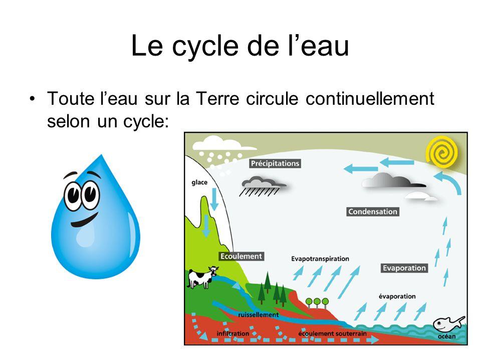 Le cycle de leau Toute leau sur la Terre circule continuellement selon un cycle: