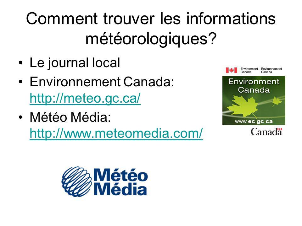 Comment trouver les informations météorologiques? Le journal local Environnement Canada: http://meteo.gc.ca/ http://meteo.gc.ca/ Météo Média: http://w