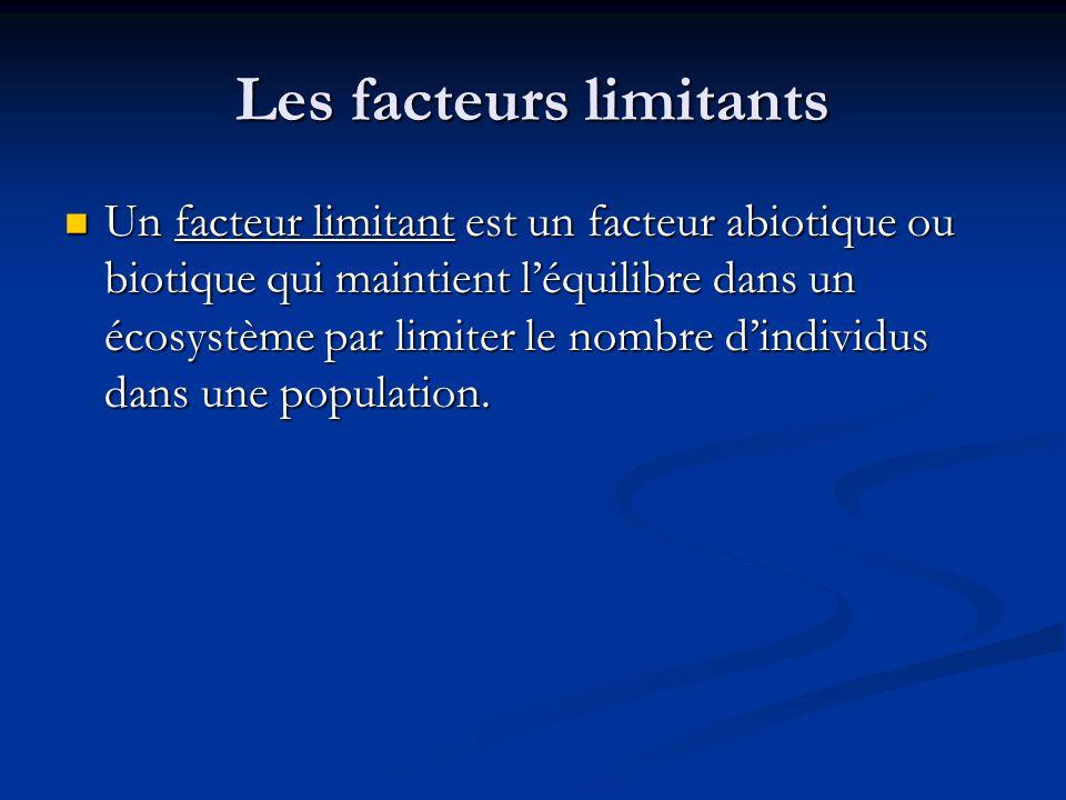 Les facteurs limitants Un facteur limitant est un facteur abiotique ou biotique qui maintient léquilibre dans un écosystème par limiter le nombre dindividus dans une population.