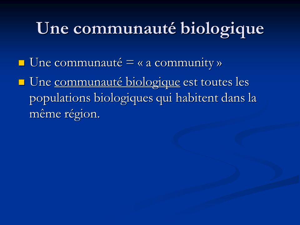 Une communauté biologique Une communauté = « a community » Une communauté = « a community » Une communauté biologique est toutes les populations biologiques qui habitent dans la même région.