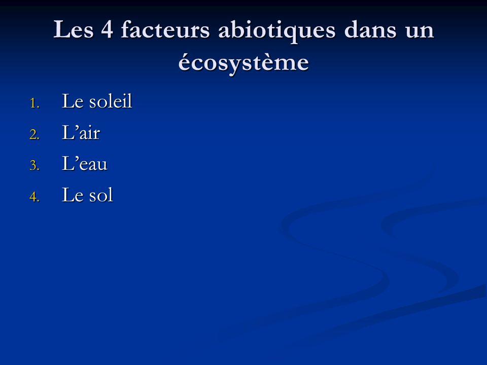 Les 4 facteurs abiotiques dans un écosystème 1. Le soleil 2. Lair 3. Leau 4. Le sol
