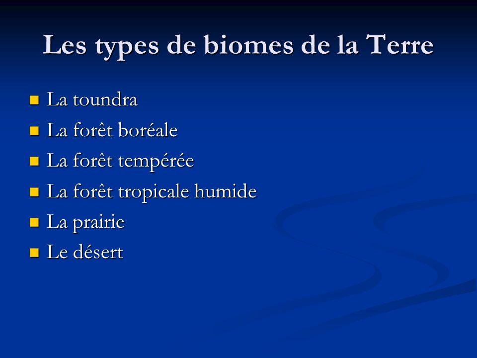 Les types de biomes de la Terre La toundra La toundra La forêt boréale La forêt boréale La forêt tempérée La forêt tempérée La forêt tropicale humide La forêt tropicale humide La prairie La prairie Le désert Le désert