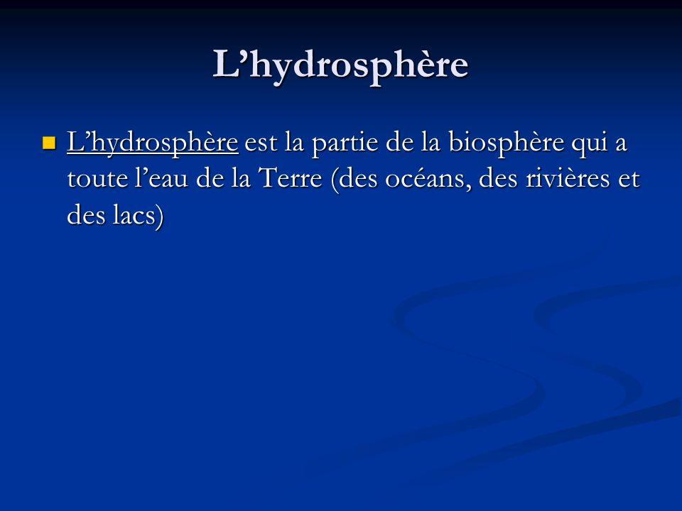 Lhydrosphère Lhydrosphère est la partie de la biosphère qui a toute leau de la Terre (des océans, des rivières et des lacs) Lhydrosphère est la partie de la biosphère qui a toute leau de la Terre (des océans, des rivières et des lacs)