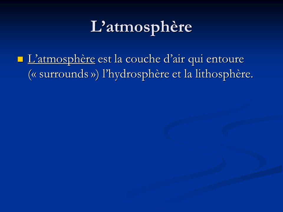 Latmosphère Latmosphère est la couche dair qui entoure (« surrounds ») lhydrosphère et la lithosphère.