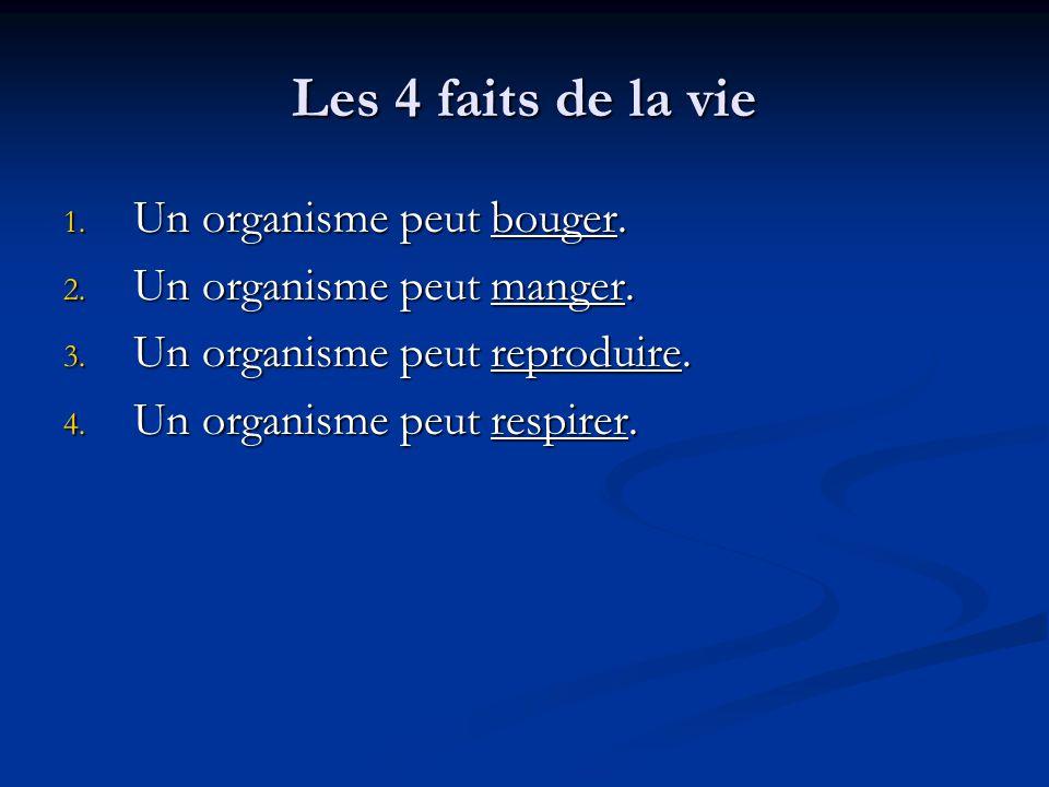 Les 4 faits de la vie 1.Un organisme peut bouger.