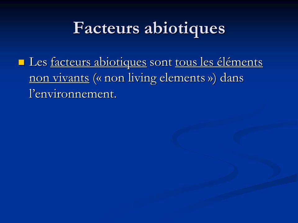 Facteurs abiotiques Les facteurs abiotiques sont tous les éléments non vivants (« non living elements ») dans lenvironnement.