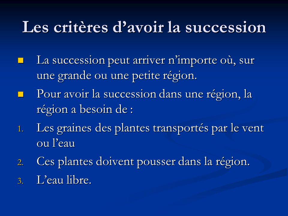 Les critères davoir la succession La succession peut arriver nimporte où, sur une grande ou une petite région.
