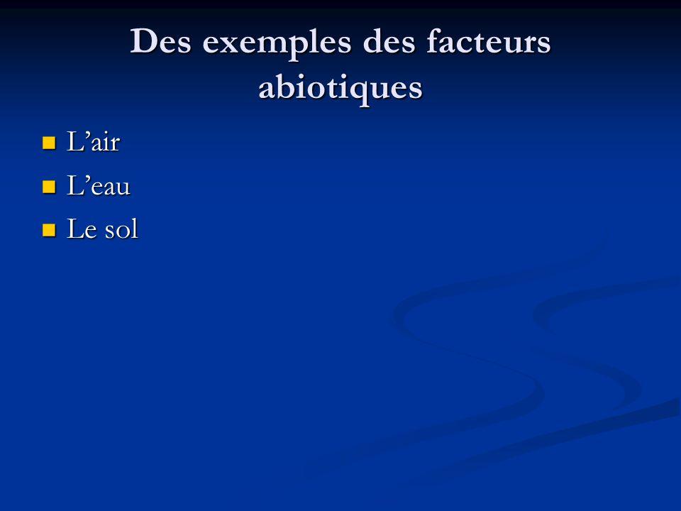 Des exemples des facteurs abiotiques Lair Lair Leau Leau Le sol Le sol
