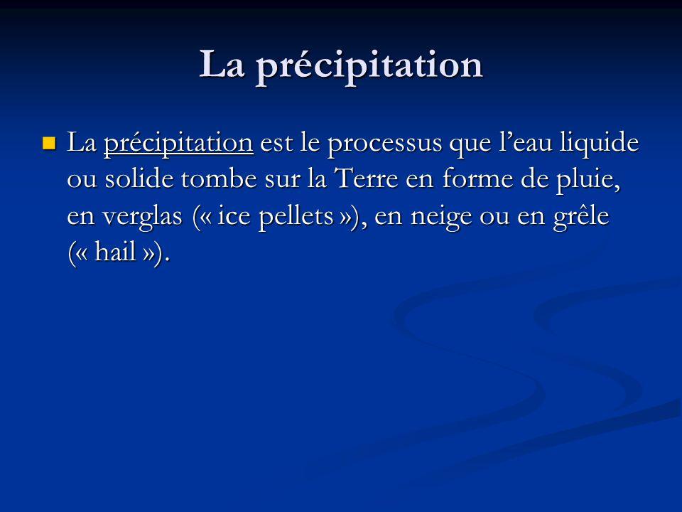 La précipitation La précipitation est le processus que leau liquide ou solide tombe sur la Terre en forme de pluie, en verglas (« ice pellets »), en neige ou en grêle (« hail »).