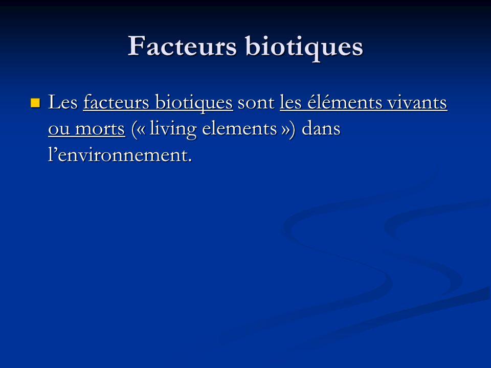 Des exemples des facteurs biotiques Les plantes Les plantes Les animaux Les animaux Les insectes Les insectes