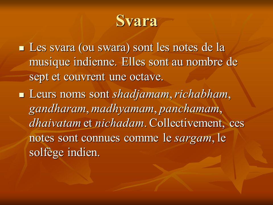 Svara Les svara (ou swara) sont les notes de la musique indienne. Elles sont au nombre de sept et couvrent une octave. Les svara (ou swara) sont les n